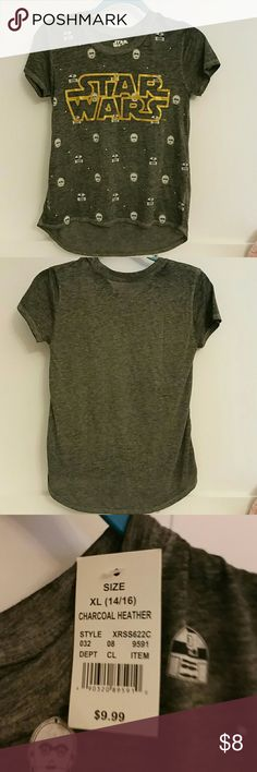 Star wars t shirt girls NWT 🎯 Grey t shirt a little longer in the back, star wars themed. Gold lettering.girls size xl 14/16 Pet and smoke free home. Star Wars Shirts & Tops Tees - Short Sleeve