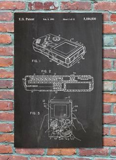 Game Boy Nintendo Wall Art Print, Patent Art, Patent Poster, Blueprint, Patent Print, Plexity Prints #069  This patent is printed on high quality luster photo paper using archival quality 100 year fade resistant inks. Choose between several background styles and multiple sizes. These are awesome prints of inventions that have changed our lives throughout history.  ___________________________________________________________________________  These prints are shipped in durable cardstock…