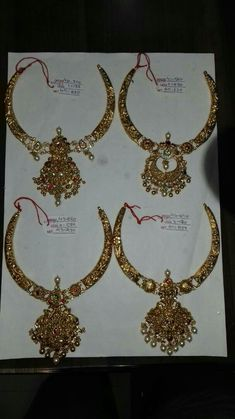 Gold Wedding Jewelry, Bridesmaid Jewelry, Bridal Jewelry, Gold Ring Designs, Gold Earrings Designs, Fancy Jewellery, Temple Jewellery, Gold Haram, Indian Necklace