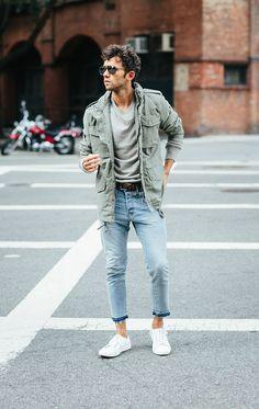 Talun Zeitoun wearing a fall jacket, jeans, belt & sweater from H&M #HMMen