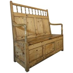 19th Century Welsh Antique Box Seat Settle. Surely I could replicate this with old doors, spindles and armrests from an old rocker or captain's chair???