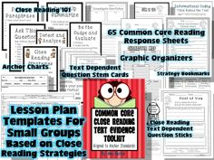 Close Reading Lesson Plan Templates, Reading Response Sheets, Common Core Assessments, Text Dependent Question Stems and Cards, Anchor Charts by Teacher Close Reading Lessons, Guided Reading Lesson Plans, Reading Activities, Reading Skills, Teaching Reading, Text Dependent Questions, Small Group Reading, Common Core Reading, Reading Response