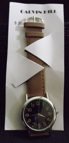 Calvin Hill Watch Black with silver Numbers and band in tan  Quartz #Fondini #Fashion