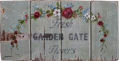 Original Painting - Fresh Farm Gate Flowers - Postage is included in the price Australia wide Farm Gate, Timber Door, Selling Paintings, Painting Gallery, Old Ones, Painted Signs, New Image, Original Paintings, Crafty
