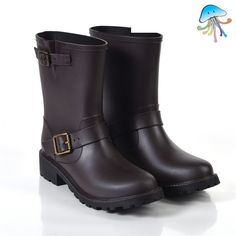 26.27$  Buy here - http://ali2qy.worldwells.pw/go.php?t=32562172650 - Martin Type Women's Mid-calf Rain Boots Water Shoes Ladies Non Slip Low Heel Waterproof Rain Shoes for Sale botas agua mujer 26.27$
