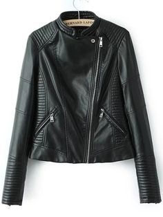 Black Stand Collar Oblique Zipper Crop Jacket