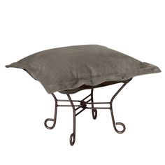 Bella Pewter Puff Scroll Ottoman - Mahogany Frame|Howard Elliott