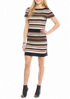 London Times TaupeBlack Textured Knit Stripe Shift Dress