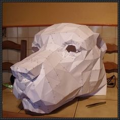 Animal Paper Model - A Dog Head Free Papercraft Download