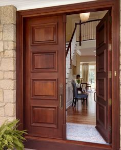 Astounding Double Front Doors For Homes Combined With Magnificent Landscape  : Admirable Wooden Double Front Doors For Homes Using Stone Wall.