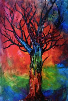Rainbow Tree  Matted Art Print by ericaannedoyle on Etsy, $80.00