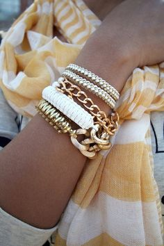stacked bracelets, white and gold