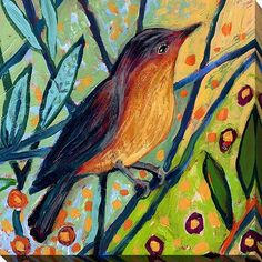 """PicturePerfectInternational """"Bird II"""" by Jennifer Lommers Painting Print on Wrapped Canvas Size: Painting Prints, Watercolor Paintings, Bird Paintings On Canvas, Canvas Wall Art, Canvas Prints, Bird Wall Art, Canvas Canvas, Canvas Fabric, Best Canvas"""