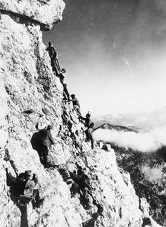 A patrol of Austro-Hungarian mountain troops climbing in the Alps.