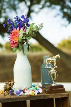 (Use painted bottles as vases) Equestrian Center of Walnut Creek Wedding by Shannen Natasha Photography