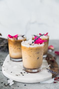 These Rose Lavender Honey Iced Lattes are sweetened with a honey simple syrup made with dried lavender and rosebuds! The simple syrup is free of refined sugar and gives the most beautiful floral sweetness to these lattes. They're an incredibly delicious treat to brighten up your mornings or summer afternoons! #latte #lavender #rose #coffee