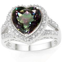 Charming Heart Love Magical Ring! Make a beautifully bold statement with this magical rainbow mystic topaz ring. It features a gorgeous large center stone of 4.14 carat heart shape mystic topaz with double sparkling white diamonds. Mesmerize your audience when you wear this colorful and dazzling 0.925 sterling silver with platinum ring. Our Price : $19.99