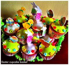 Easter cupcake basket Easter Cupcakes, Basket, Baking, Desserts, Food, Tailgate Desserts, Postres, Deserts, Essen