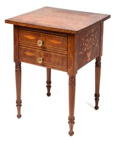 Federal walnut two-drawer stand table (c. 1830), possibly Kentucky, with extensive folk-art-inlaid decorations.