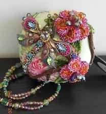 MARY FRANCES Damsel in Flight Dragonfly Bag Green Flowers Handbag Purse NEW