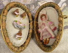 Original Antique wicker egg/presentation box with   mignonette doll from Stairwaytothepast on Ruby Lane.