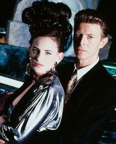 "davidssecretlover: "" David Bowie, Rosanna Arquette, Marlee Matlin on the set of The Linguini Incident, Los Angeles. Photographed by Nancy Ellison, 1990. """