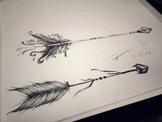 Arrow tattoo design by Esther Chiu. Could be a great couple tattoo idea More