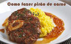 Como fazer a receita de Pirão de Carne com Alho #receitas #pirão #carne #dicas