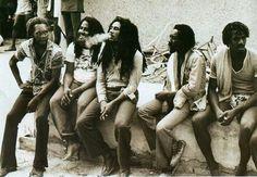 Jamaica, backstage at Reggae Sunsplash, 1979: Killer Miller, Bob, I JAH Man and Jr. Marvin