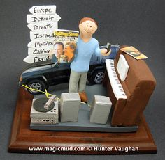 Personalized Figurine for a Man who Loves His Car   This young man is crazy about his Jeep Cherokee, and loves to play the piano and spin some treasured vinyl on a real old school stereo system....    he's multi tasking on his blackberry and his destination sign post is in plain view...he's all over the place!!...    $195 #birthday #anniversary #gift #figurine #custom #personalized #jeep #piano