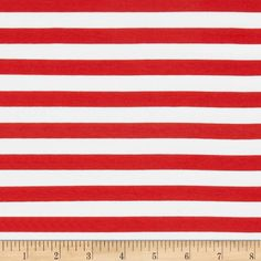 """Riley Blake Knit 1/2"""" Stripes Red from @fabricdotcom  From Riley Blake Fabrics, this lightweight stretch cotton jersey knit fabric features a smooth hand and four way stretch for added comfort and ease. With 50% stretch across the grain and 25% vertical stretch, it is perfect for making t-shirts, leggings, loungewear, yoga pants and more! It features printed horizontal stripes."""