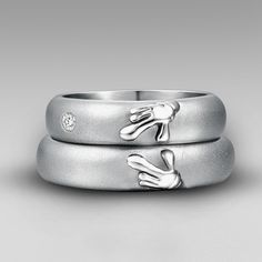 Titanium 'Forever Love' Matching Heart of Mickey And Minnie Wedding Bands Couple Rings for Women