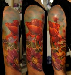 Shoulder Realistic Flower Tattoo by Grimmy 3D Tattoo