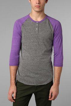 Alternative 3/4-Sleeve Two-Tone Henley Tee  #UrbanOutfitters