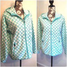 Lands End Hooded Jacket Womens Size 14 16 Fleece Front Zip Blue Geometric Floral #LandsEnd #FleeceJacket
