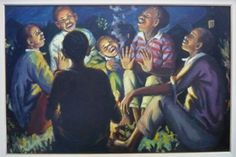 George Phemba, well known South African artist. look at his great use of light and dark contrast to highlight the children's faces and expression. Black Art Pictures, New Brighton, South African Artists, Child Face, Art And Architecture, Light In The Dark, Masters, Storytelling, History