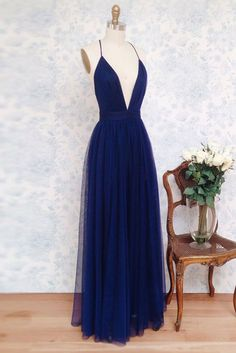 simple v neck dark blue tulle long prom
