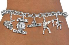Tennis Five Charm Bracelet - Silver Chain Bracelet w Silver Charms