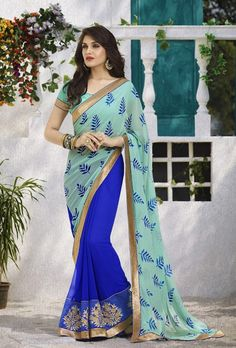 5a20c202c17970 194855 Blue color family Embroidered Sarees