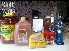 DIY Apple Pie Moonshine Alá Mode - Gather up your ingredients: 1 gallon Apple Cider 1 gallon Apple Juice 1.5 cups White Sugar 1.5 cups Brown Sugar Cinnamon Sticks 3 cups Everclear Grain Alcohol 2 cups Vanilla Vodka  (Recipe makes 8-9 quarts)