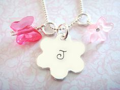 Hand Stamped Necklace - Childrens Jewelry - Sterling Silver - Flower Disc. $28.00, via Etsy.