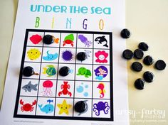 Bingo for school yard for the kids to find things. bingo for the tiny home Under The Sea Crafts, Under The Sea Theme, Under The Sea Party, Under The Sea Games, Dolphin Party, Sea Activities, Vocabulary Activities, Ocean Party, Little Mermaid Parties