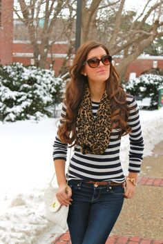 Stripes & Leopard Print: black and white long sleeve, leopard scarf, jeans