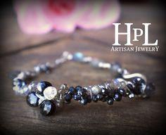 Sterling silver  hand made gemstone  bracelet-  spinel, moonstones, labradorites