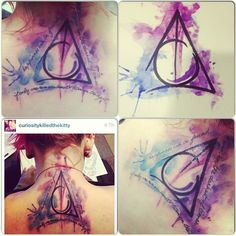 Harry Potter Deathly Hallows water colour tattoo . AWESOME!