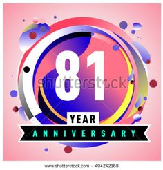 81th years greeting card anniversary with colorful number and frame. logo and icon with circle badge and background