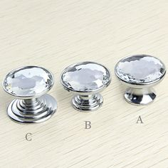 Crystal Dresser Knob  Glass Knobs Drawer Knobs Pulls Handles  Kitchen Cabinet Knobs Handle Pull Bling Hardware Silver Clear Sparkly Modern