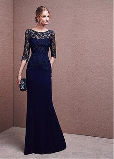 Fantastic Lace & Chiffon Bateau Neckline Three-quarter Length Sleeves Sheath Evening Dresses with Beadings & Rhinestones