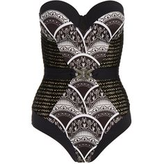 Paolita Cleopatra Black Printed Bodice Swimsuit (£90) ❤ liked on Polyvore featuring swimwear, one-piece swimsuits, black, crochet one-piece swimsuits, print one piece swimsuit, halter swimsuit tops, swim suits and underwire halter swimsuit