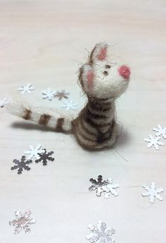 Felt Miniature  Felted Miniature kitten  by GoldenThreadDesign